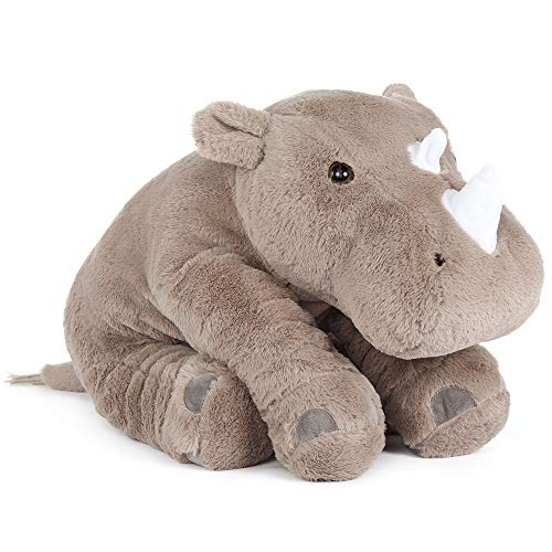 Tezituor Rhino Stuffed Animal Plush Toy Cute Soft Gift for Boy Girl Kids ( Gray Grey, 24 Inches )