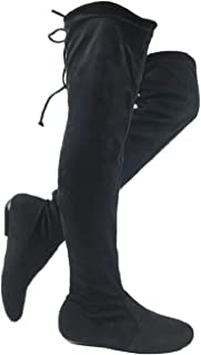 Wells Collection Womens Over The Knee Boots Soft Stretch Faux Suede Flat to Mid Heel Knee High