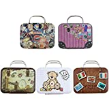 Framendino, 5 Pack Mini Suitcase Favor Box Doll Toys Party Favor Candy Boxes Small Cartoon Tin Rectangular Candy Handbag Tin Jewelry Coin Container