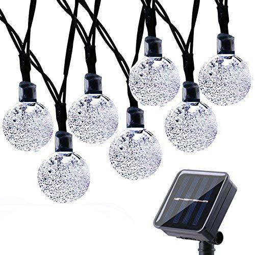 Geemoo 60 LED Globe Solar String Lights, 8 Modes Waterproof Solar Lights Outdoor Garden, Solar Powered Fairy Lights for Garden Patio Porch Gazebo Decor (White)