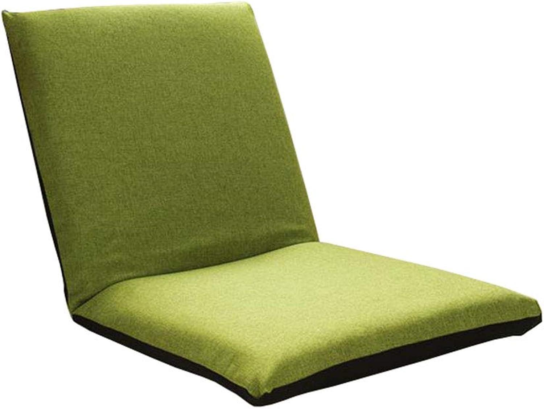 Folding Lazy Lounge Little Sofa Adjustable Backrest Floor Chair Single Bay Window Dormitory (Green)