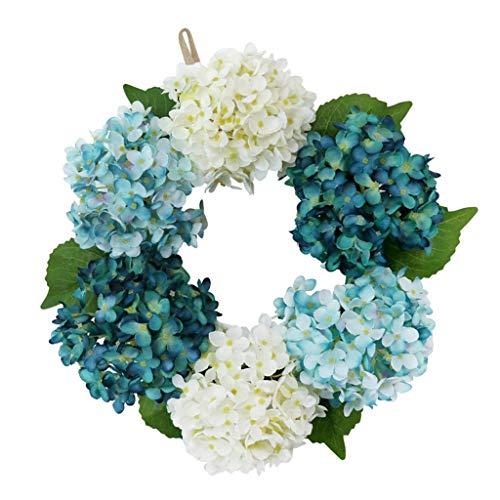PETSOLA Romantische Türkranz Wandkranz Dekokranz Kunstblumenkranz mit Hortensie und Rattan Dekoration - Blau + Weiß