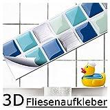 Grandora Set de 7 pegatinas azulejos y baldosas 25,3 x 3,7 cm azul turquesa plata I mosaico efecto 3D para baño decoración autoadhesivas W5189