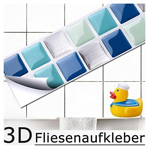 Grandora 7er Set Fliesenaufkleber 25,3 x 3,7 cm blau türkis Silber I Fliesensticker Mosaik 3D-Effekt Aufkleber Bad Fliesendekor selbstklebend W5189