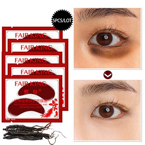 Algue/Ginseng Rouge Luxe Patch de Masque pour les Yeux Hydratant Sous les Coussinets de Gel pour les Yeux pour Enlever le Cercle Noir Anti-poches et Raffermissant 5Pcs (Ginseng Rouge)