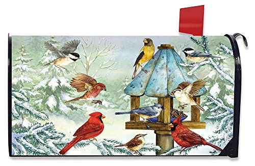 Briarwood Lane Cold Feet, Warm Hearts Winter Magnetic Mailbox Cover Birds Snowy Standard