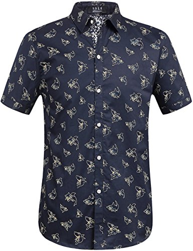 SSLR Men's Shark Printed Casual Button Down Short Sleeve Shirt (Medium, Navy)