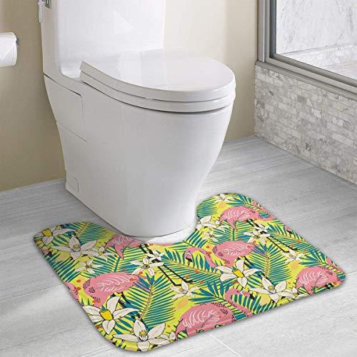 Hoklcvd Isolierte Vögel Flamingo-Muster U-förmige Toilette Boden Teppich Rutschfeste Toilette Teppiche Badematten Teppich