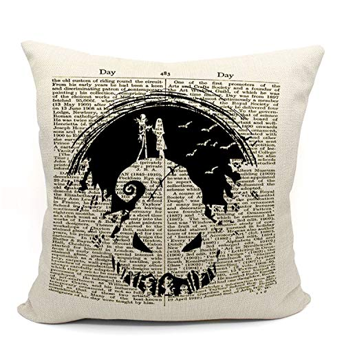 Mancheng-zi The Nightmare Before Christmas Jack Skellington and Sally Throw Pillow Case, Long Distance Relationship Gifts, Gift for Couples, 18X18 Inch Linen Cushion Cover for Sofa Couch Bed, Flaxen