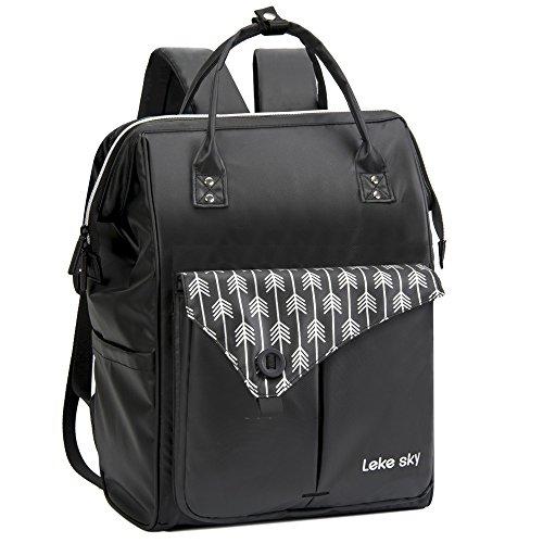 Lekesky Wasserdicht Laptop Rucksack Damen 15.6 Zoll Laptopfach für Arbeit Schule Universität (Schwarz)