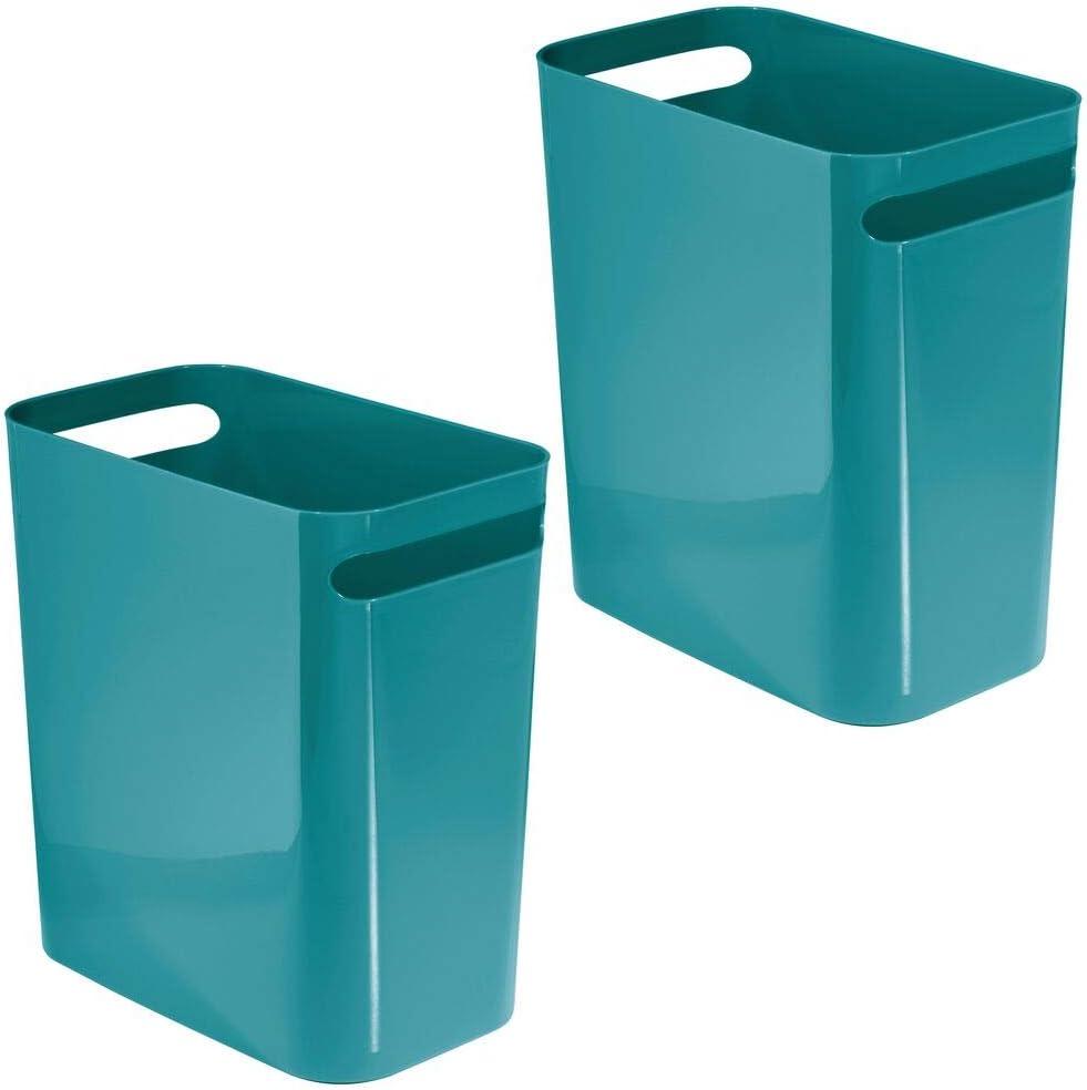 mDesign Slim Plastic Rectangular Gorgeous Large Wastebasket Excellent Can Ga Trash
