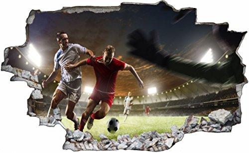 DesFoli Fussball Stadion Spielfeld 3D Look Wandtattoo 70 x 115 cm Wanddurchbruch Wandbild Sticker Aufkleber C511