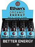 Ethan's Organic Energy Drink, Pomegranate Blueberry Flavor, Vegan, Gluten Free, Green Tea Extract, Guayusa, Caffeine Boost, B6 & B12 Vitamin C Focus Supplement, Plant Based Diet (12 Pack of 2oz Shots)