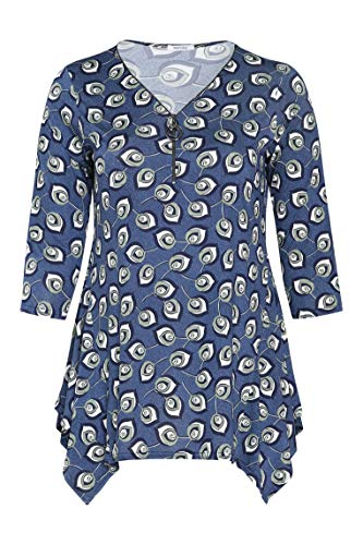 PAPRIKA Damen große Größen Tunika mit Blattmuster-Print V-Ausschnitt 3/4 Ärmel