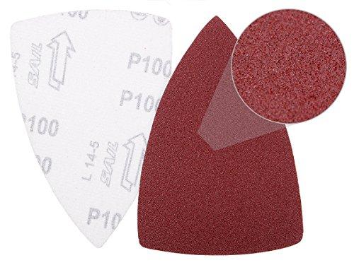 Lot de 100 feuilles de papier triangulaire abrasif émeri poncer Granulation K80