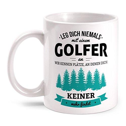 Fashionalarm Tasse Leg dich niemals mit einem Golfer an beidseitig bedruckt mit lustigem Spruch | Geburtstag Geschenk Idee Golfspieler Mini Golf, Farbe:weiß