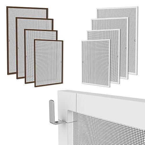 Rapid Teck Klemmfix Fliegennetz Fenster Aluminium Rahmen Braun Größe 80cm*100cm Fliegengitter OHNE Bohren Insektenschutz Gitter Fiberglas