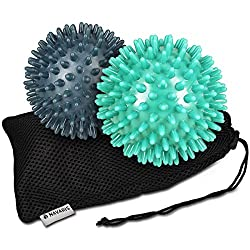 Navaris 2x Hedgehog Ball with Nubs - 2er Set Hedgehog Ball Massage Ball - Massage for Hand Foot Back Balance - Fitness Nubbball Ø 8cm medium and hard