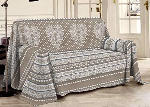 HomeLife – Funda de sofá con estampado tirolés – Sábana bajera multiusos de algodón – Granfoulard colcha para cama individual [180 x 290] y matrimonial [250 x 290] – Fabricado en Italia