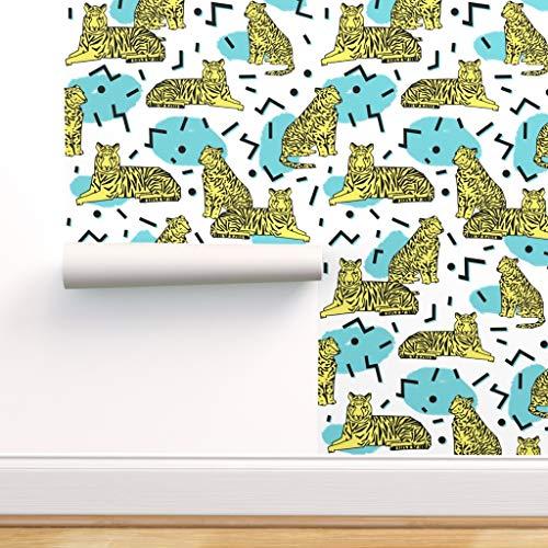 Streifen, Arbeit, 80er Jahre, Kind, Tiger, zickzack, neunziger Jahre Spezialangefertigte Vorgekleisterte Tapete 61 cm x 310 cm von Spoonflower