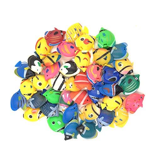 Peces de plástico,12 piezas Peces Mini Realistic Animales Marinos de Plástico Figuras de Peces Tropicales Plástico Artificial flotante peces Vinilo Ocean Sea Animal Figuras(Color aleatorio)