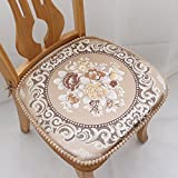chair pad European Style Chenille Dining with Ties All Seasons Kitchen Thick Seat Cushions (Khaki)