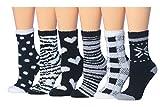 Tipi Toe Women's 6-Pairs Black And White Monochrome Anti-Slip Soft Fuzzy Winter Crew Home Socks, (sock size 9-11) Fits shoe size 6-9, FZ16-6
