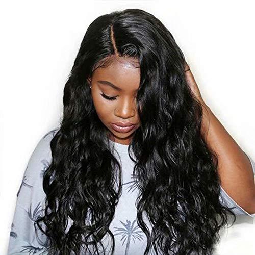 Maxine 360 - Peluca con malla frontal con pelo de bebé, ondulado, brasileño, virgen, pelo 100% sin procesar, pelucas de pelo humano para mujeres negras, densidad del 180%