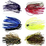 Silicone Jig Skirts DIY Rubber Fishing Jig Lures 12 Bundles 50 Strands Fishing Bait Accessories...