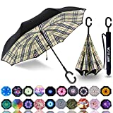 MRTLLOA Double Layer Inverted Umbrella with C-Shaped Handle, Anti-UV Waterproof Windproof Straight Umbrella for Car Rain Outdoor Use(Chec)