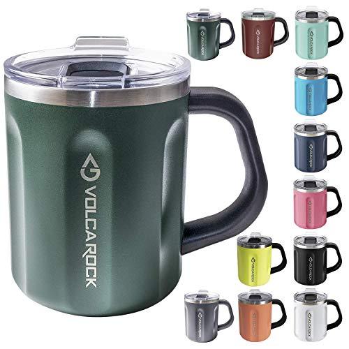 VOLCAROCK Coffee Mug with Handle, 16oz Insulated Stainless Steel Reusable Coffee Cup, Double Wall Coffee Travel Mug, Keep Cold 6 Hours and Keep Warm 5 Hours (Dark Green))