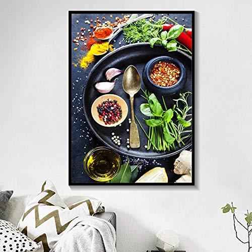 Lunderliny Cartel De Cocina De Restaurante Arte De Pared Pintura En Lienzo Decoración Nórdica del Hogar Granos Especias Cuchara Pimientos Carteles Impresos Imagen 50x70cm