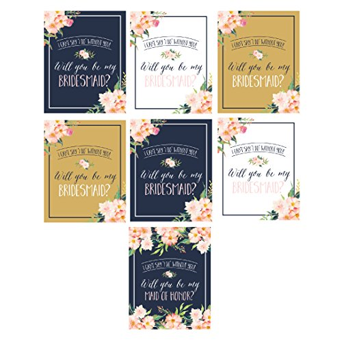 Will You Be My Bridesmaid Stickers or Wine Bottle Labels Bridal Party Maid of Honor Proposal Ideas, Ask Your Bridesmaids To Be In Wedding Gifts, Gold White & Navy I Can't Say I Do Without You (Gifts To Ask Someone To Be Your Bridesmaid)