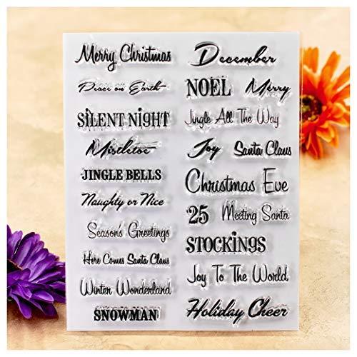 Kwan Crafts Inscription Merry Christmas Bonhomme de Neige de la Saison Décoration de Timbres pour la création de Cartes de vœux et DIY Scrapbooking