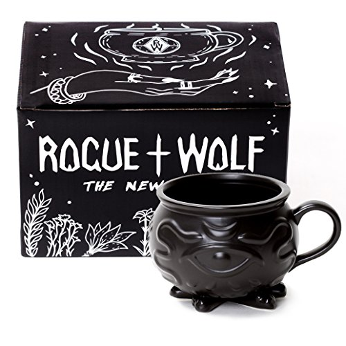 Witch Cauldron Coffee Mug in Gift Box by Rogue + Wolf Porcelain 3D Novelty Mugs Gothic Tea Cup Witches Halloween Goth Decor Witchcraft Wicca Supplies 14 oz 400ml