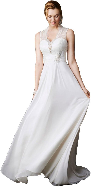 Irenwedding Women's V Neck Sleeveless Ruched Keyhole Back Beaded Long Wedding Dress