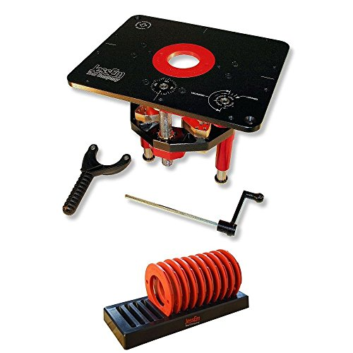 JessEm 02120 Mast-R-Lift II Router Lift + 02030 10-Piece Insert Ring Kit with Caddy Bundl