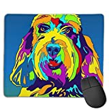 Multi-Color Petit Basset Griffon Vendéen Dog Mouse Pad with Stitched Edges, Mouse Pad with Non-Slip Base, Suitable for Work,Gaming, Office, Home, Fast Accurate Game and Office Control