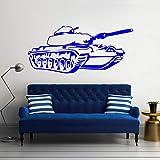 Geiqianjiumai Armee Tank Kinderzimmer Art Deco Wandaufkleber Vinyl Wandtattoo Military Tank Removable Home Decor Wandmalerei Blau 85x40 cm