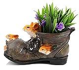 Large Old Boot Flower Plant Pot Vase Planter with Rabbits Figurines,Shoe Shaped Plant Pot/Bonsai Pot/Flower Pot/Succulent Planter Multi Purpose Pot