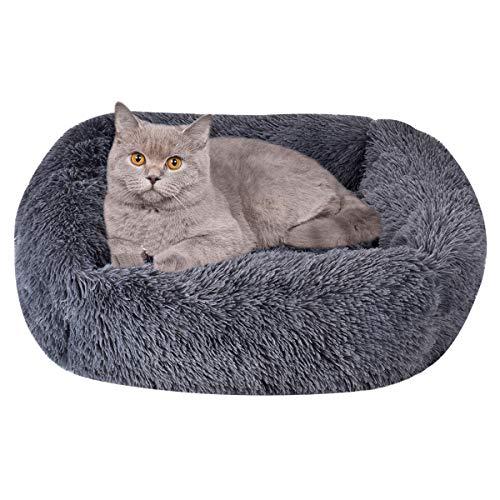 Queta Flauschiges Hundebett, Plüsch Katzenbett Warmes Haustierbett Weiches Haustier Sofa Waschbares rechteckiges Haustierkissen Tierbett 55 * 45 * 20 cm (dunkelgrau)