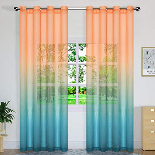 Sheer Curtain Panels Semi Curtains Gradient Sheer Curtains Voile Gauze Curtains,Grommet,Sets of 2 Panels,W52 × L96 Inch,Orange to Turquoise