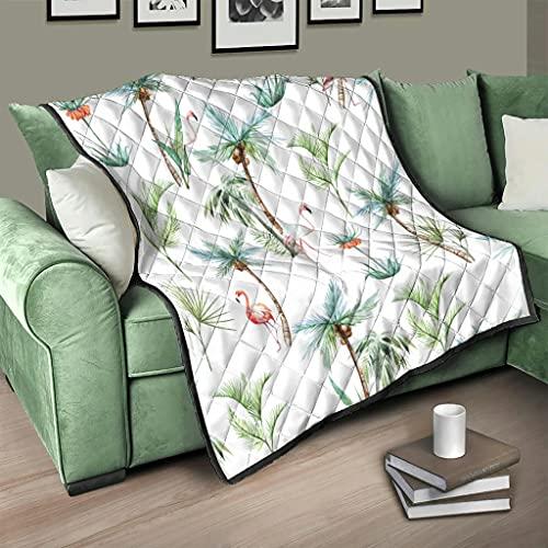 AXGM Colcha de flamenco y coco, manta suave y cálida, para el salón, color blanco, 130 x 150 cm