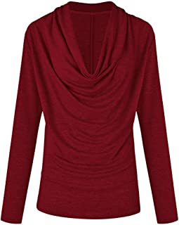 Newkelly Womens Winter Long Sleeve V Neck Ruffle Cross Lace Up Slim Pullovers Blouse