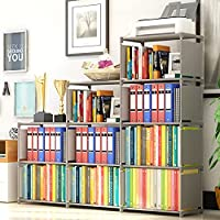 OppsDecor 4 Tier 9-Cubes Shelf Adjustable DIY Bookcases (Grey)
