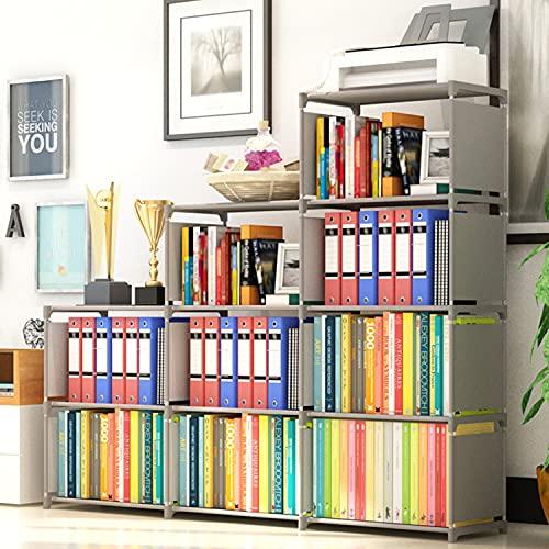 OppsDecor 9-Cubes Bookshelf, 4 Tier Shelf Adjustable DIY Bookcases for Kid, Book Shelf Organizing Storage Shelving Cabinet for Bedroom Living Room Office (Grey)