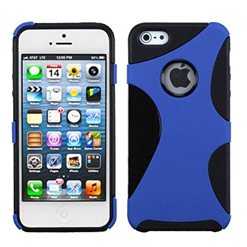 Insten Cragsman Dual Layer [Shock Absorbing] Protection Hybrid PC/TPU Rubber Case Cover Compatible with Apple iPhone 5/5S/SE, Dark Blue/Black