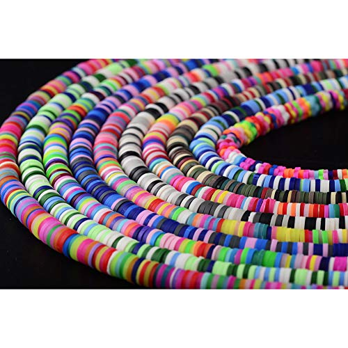 Clay Beads 10strands 6mm Vinyl heishi Chip Disk Flat Round Loose Handmade Polymer Fimo Spacer Bead About 3200pcs Mutilcolor DIY for Jewelry Making Necklace Bracelet Finding (6mm, 10 mutilcolor)