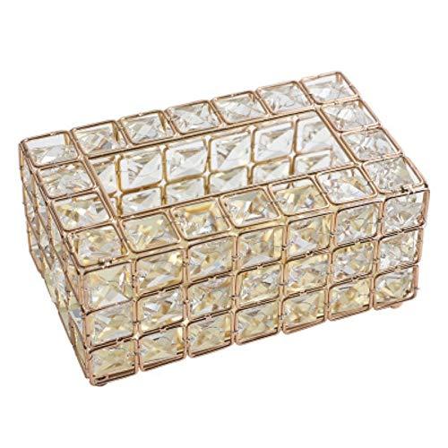 YEZIB Decoración del hogar Crystal Europea Caja del Tejido Hecho a Mano Simple Home Living Mesa de cajón de Escritorio Decorativa Caja de almacenaje de la servilleta Decoración de Pared