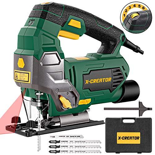 Seghetto Alternativo 800W con Laser,X-CREATOR 3000RPM Sega Elettrico Professionale,6 Velocità,rame fine,Angolo di...